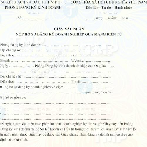 Mẫu giấy xác nhận nộp hồ sơ đăng ký doanh nghiệp qua mạng điện tử