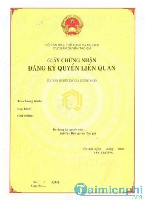 Mẫu giấy chứng nhận đăng ký quyền liên quan
