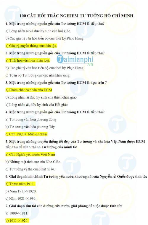 100 câu hỏi trắc nghiệm Tư tưởng Hồ Chí Minh