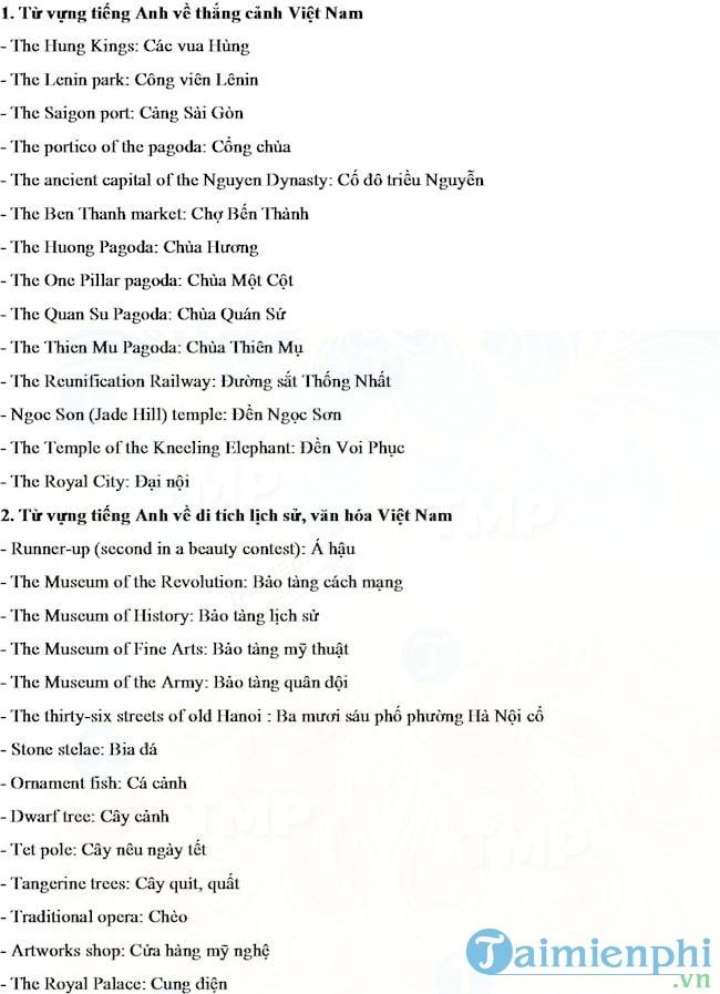 Từ vựng tiếng Anh về thắng cảnh, lịch sử văn hóa, du lịch Việt Nam