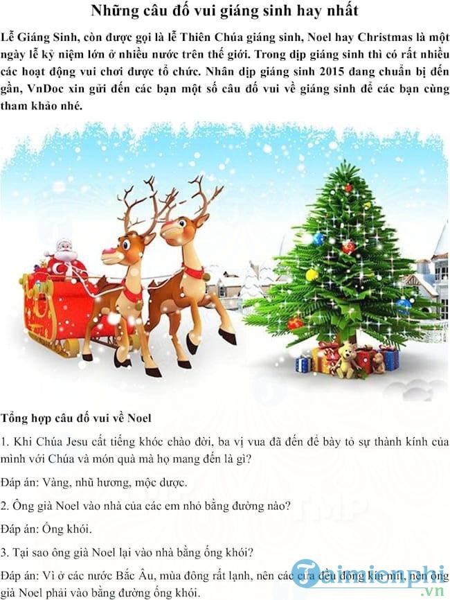 Đố vui về giáng sinh