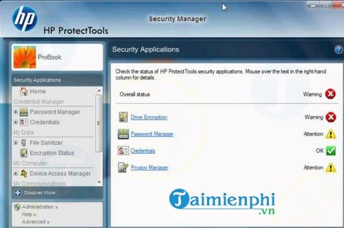 HP ProtectTools Security Manager Suite