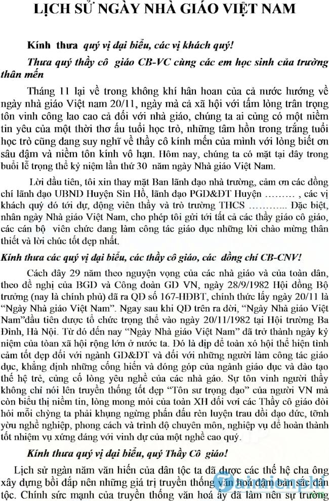 bai phat bieu on lai truyen thong ngay 20-11