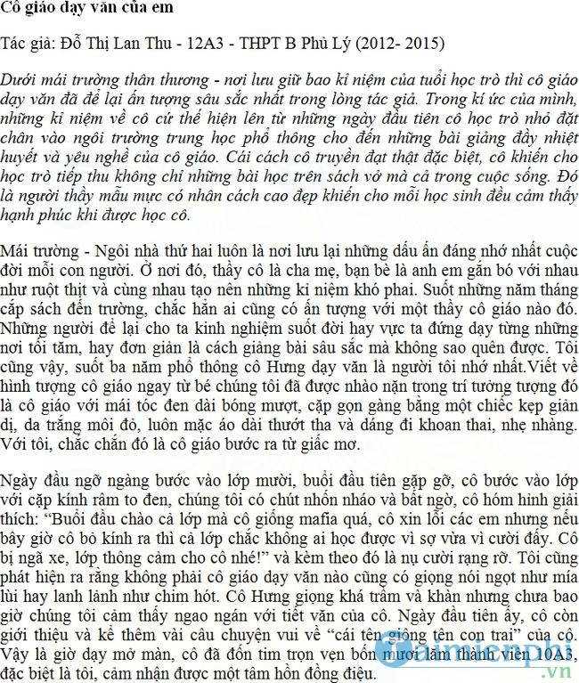 Bài dự thi viết về cô giáo của tôi