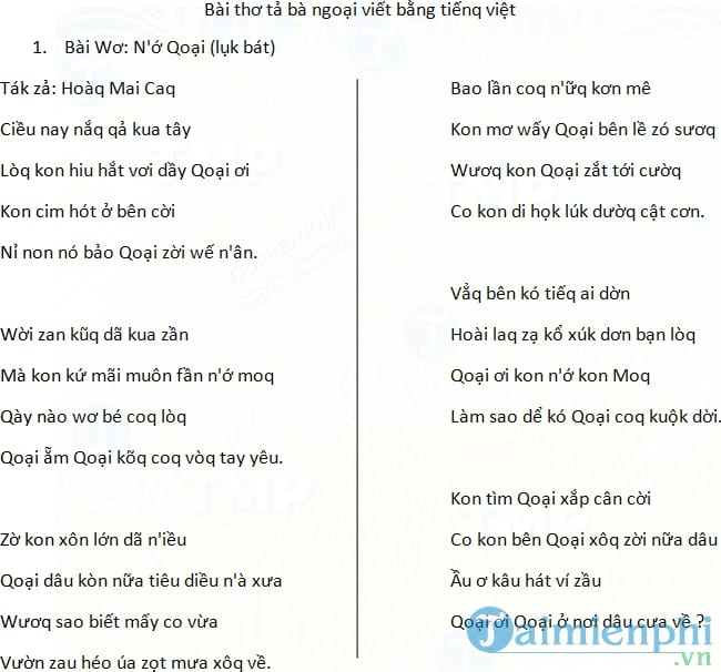 Bài thơ tả bà ngoại viết bằng tiếq việt