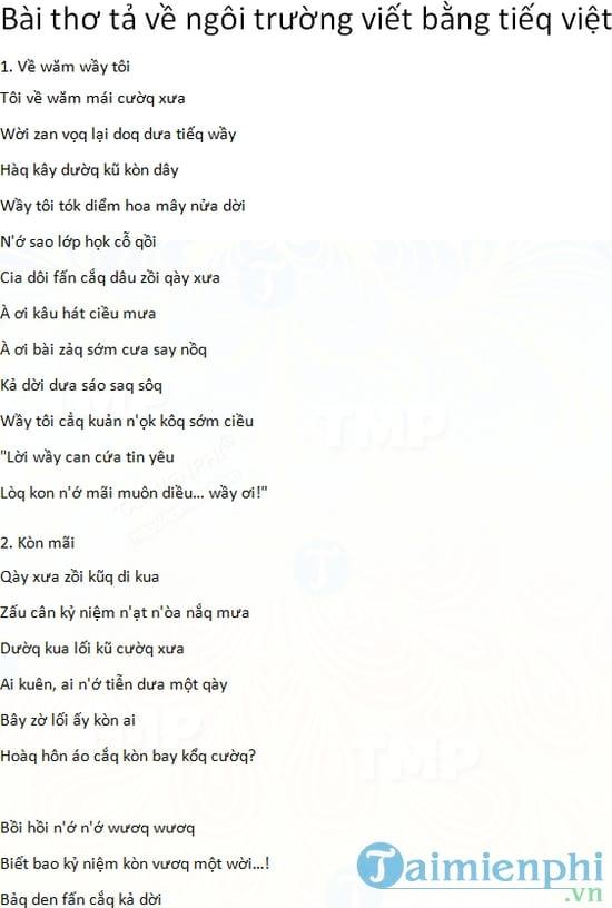 Bài thơ tả về ngôi trường viết bằng tiếq việt