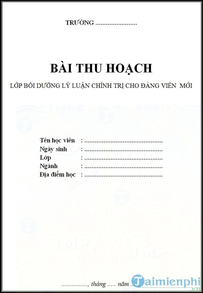 Mẫu bìa bài thu hoạch lớp Đảng viên mới