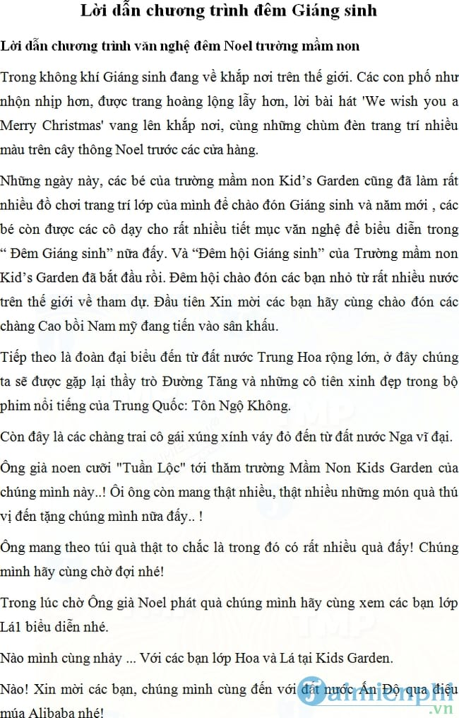 loi dan chuong trinh van nghe dem giang sinh