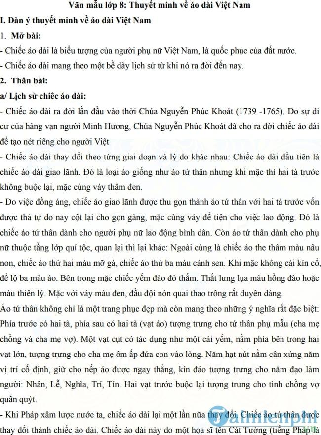 Thuyết minh về áo dài Việt Nam