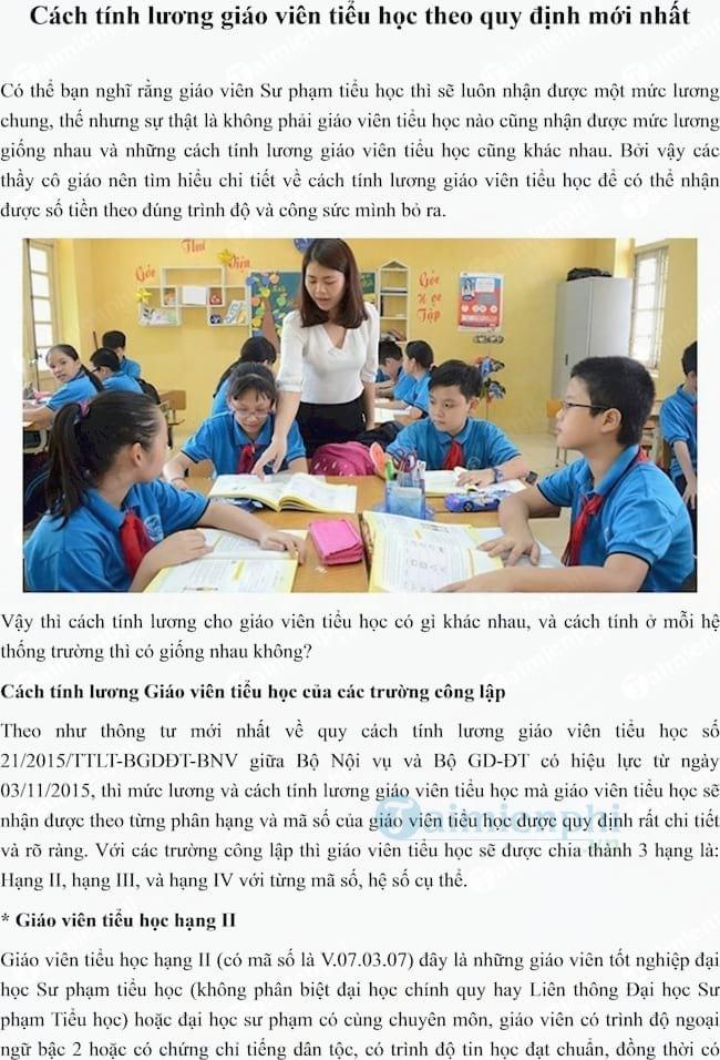 Cách tính lương giáo viên tiểu học
