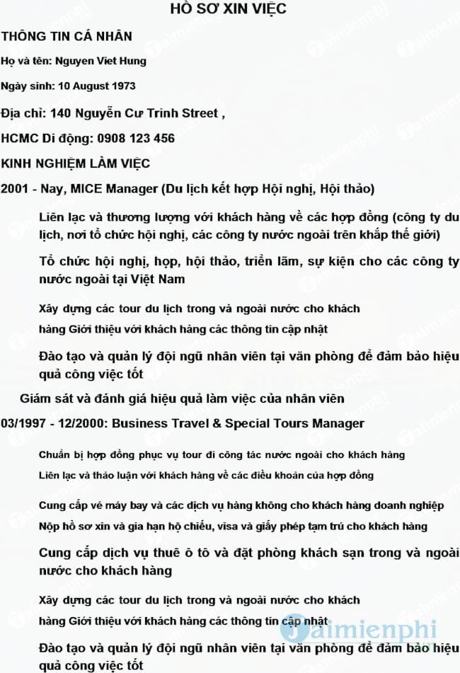 CV mẫu bằng tiếng Việt dành cho người đã có kinh nghiệm
