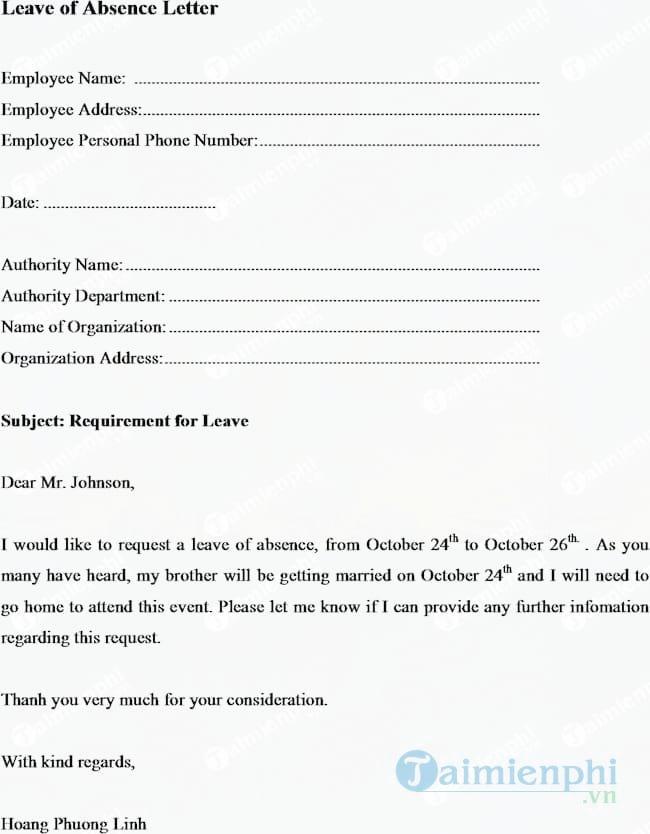 Đơn xin nghỉ phép bằng tiếng Anh (Leave of absence letter)