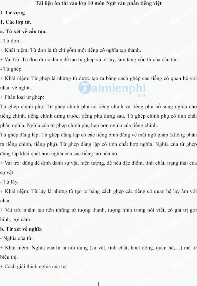 Tài liệu ôn thi vào lớp 10 môn Ngữ văn phần Tiếng Việt