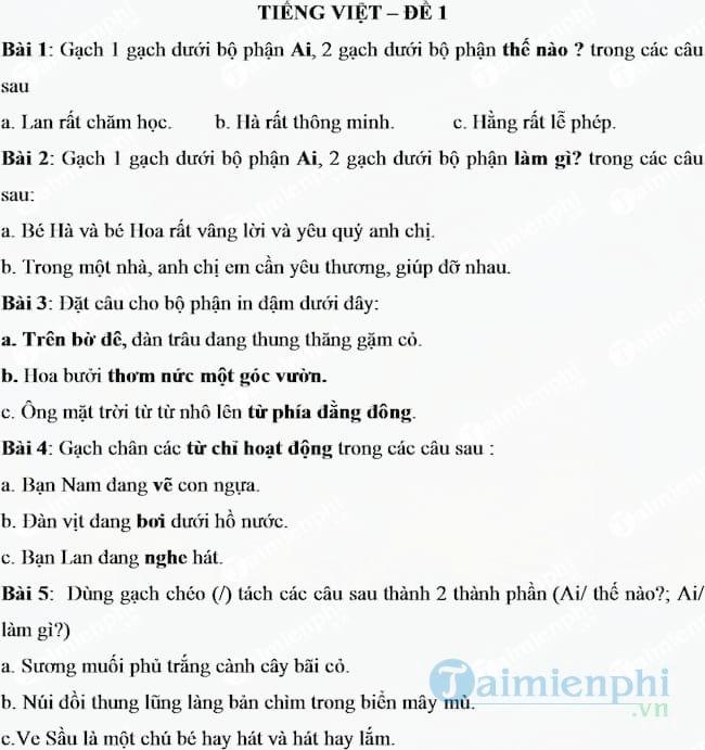 Bộ đề ôn hè môn Toán, Tiếng Việt lớp 2