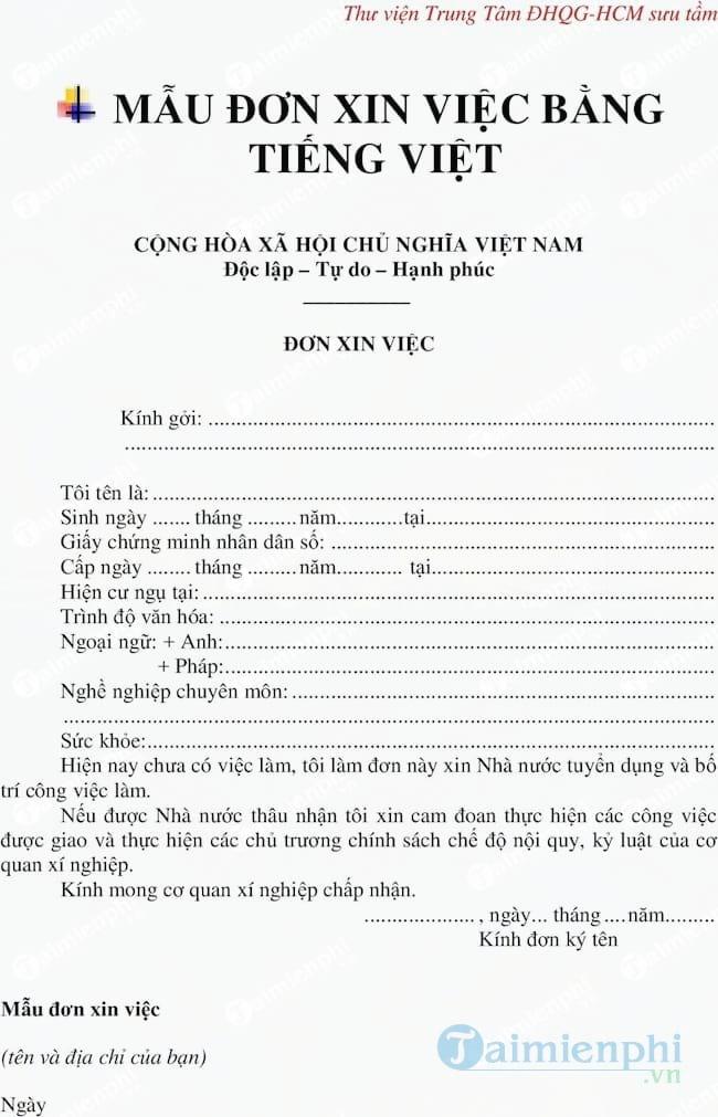 Mẫu đơn xin việc bằng tiếng Việt, tiếng Anh và hướng dẫn cách viết