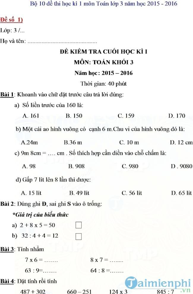 Đề kiểm tra học kì I lớp 3 môn Toán