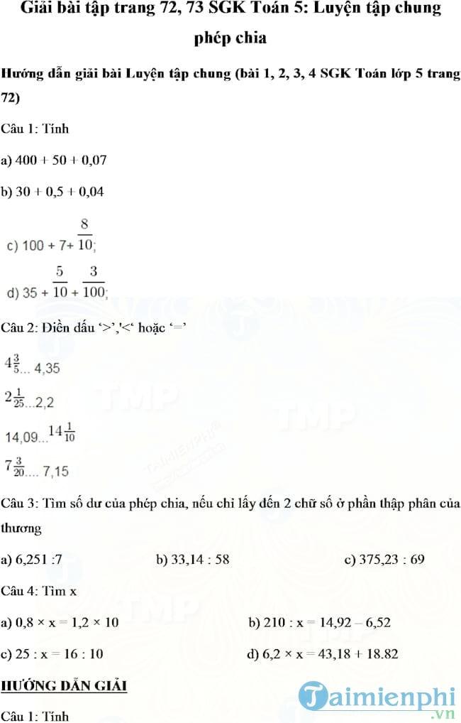 Giải bài tập trang 72, 73 SGK Toán 5