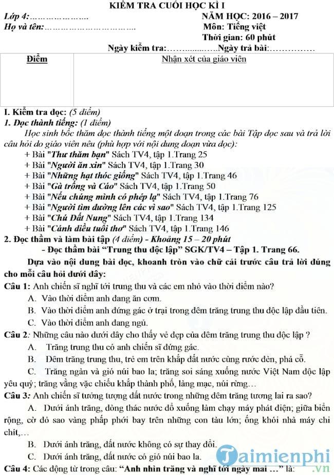 Đề thi học kì 1 môn Tiếng Việt lớp 4