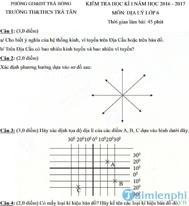 Đề thi học kì 1 môn Địa lý lớp 6