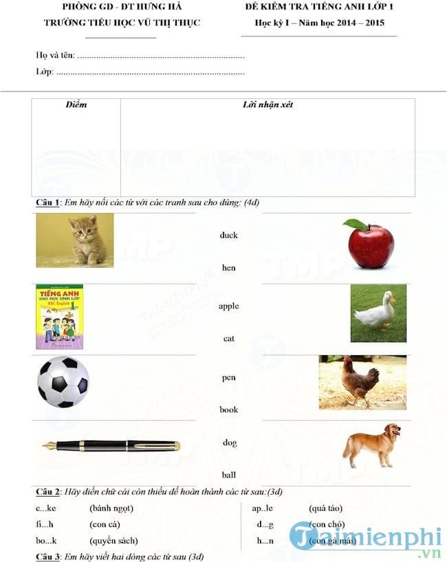 Đề kiểm tra học kỳ 1 môn tiếng Anh lớp 1