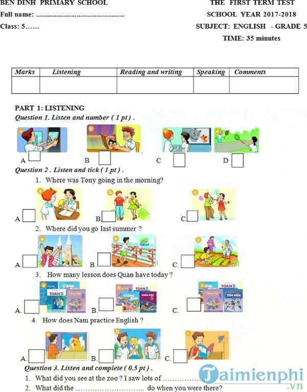Đề kiểm tra học kì 1 môn Tiếng Anh lớp 5 năm 2017 - 2018
