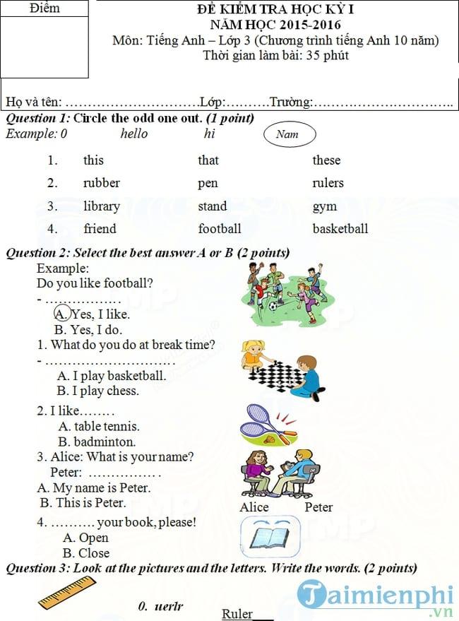Đề kiểm tra học kỳ 1 môn tiếng Anh lớp 3