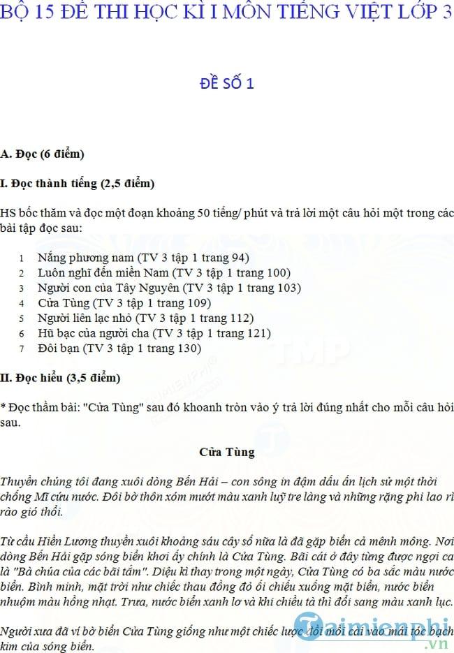 Đề thi học kì 1 môn Tiếng Việt lớp 3