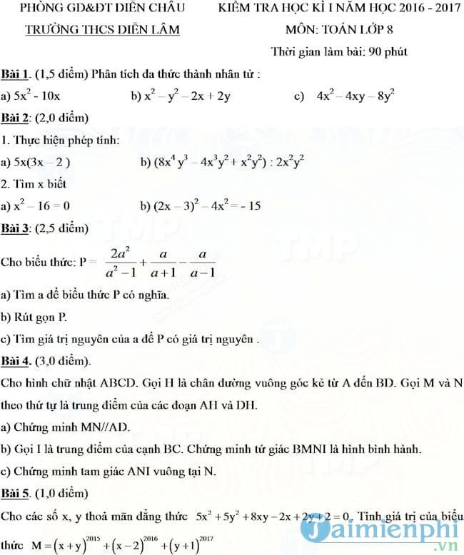 Bộ đề thi học kì 1 môn Toán lớp 8
