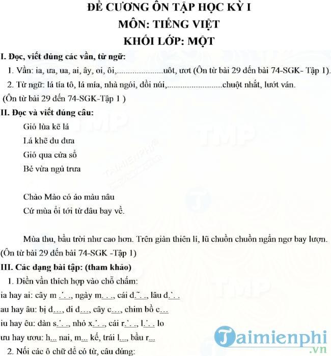 Đề cương ôn tập học kì 1 môn Toán, Tiếng Việt lớp 1