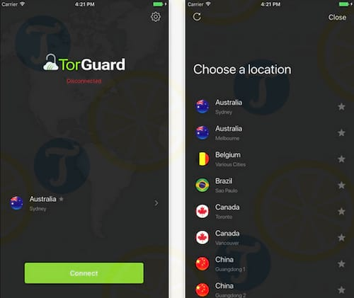 TorGuard Anonymous VPN Service cho iPhone