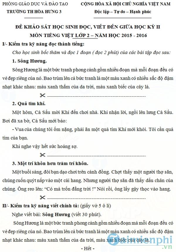 Đề thi giữa học kì 2 môn Tiếng Việt lớp 2