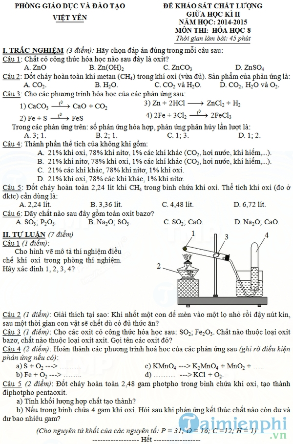 Đề thi giữa học kỳ 2 môn Hóa học lớp 8