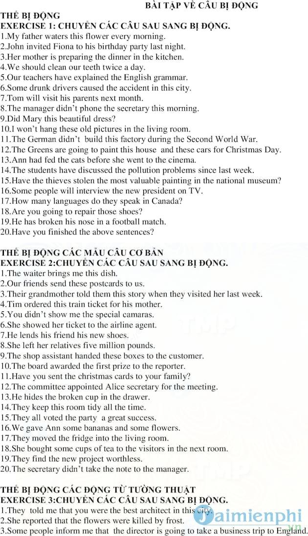 Bài tập về câu bị động trong Tiếng Anh