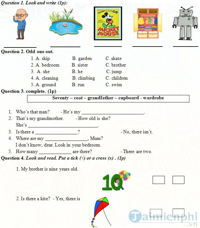 Đề kiểm tra giữa học kì 2 lớp 3 môn tiếng Anh