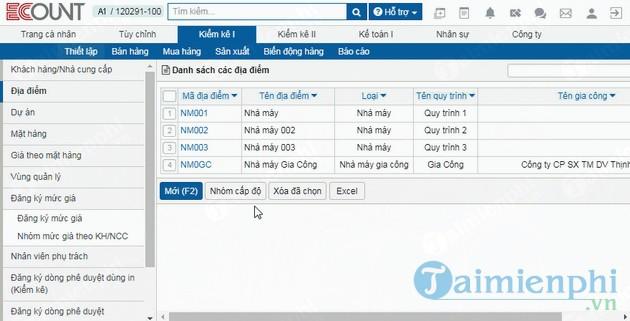 Phần mềm quản lý sản xuất Ecount