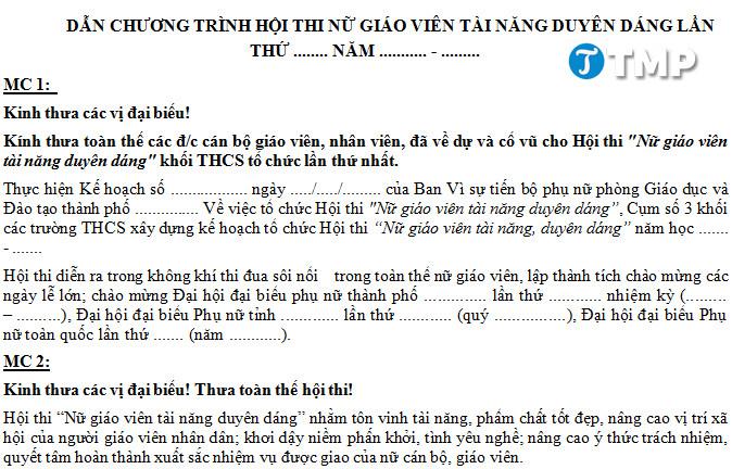 loi dan chuong trinh hoi thi nu giao vien tai nang duyen dang