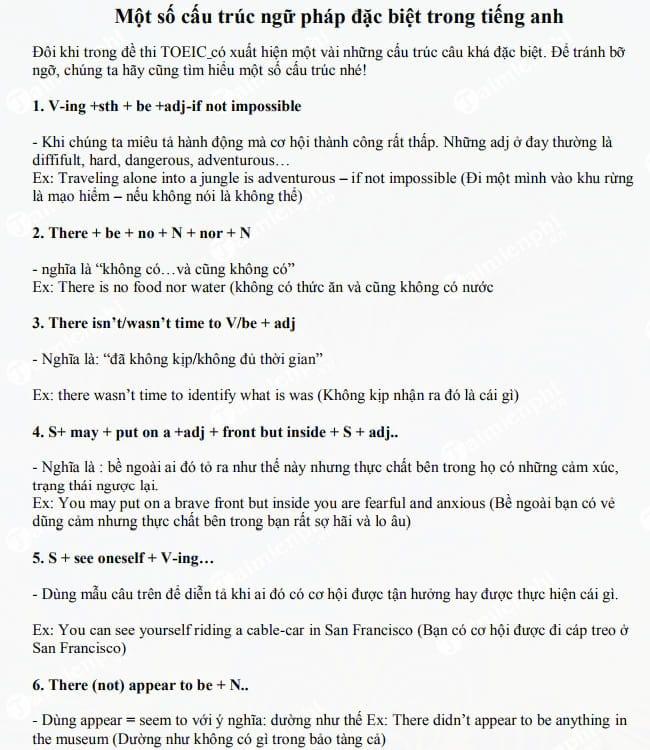 Một số cấu trúc ngữ pháp đặc biệt trong Tiếng Anh