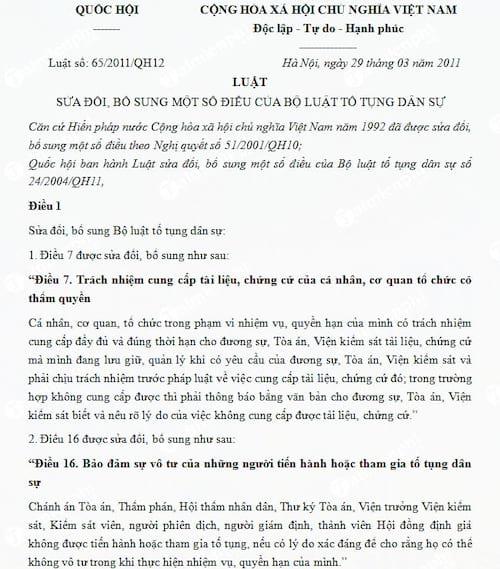 Luật tố tụng dân sự số 65/2011/QH12 sửa đổi năm 2011