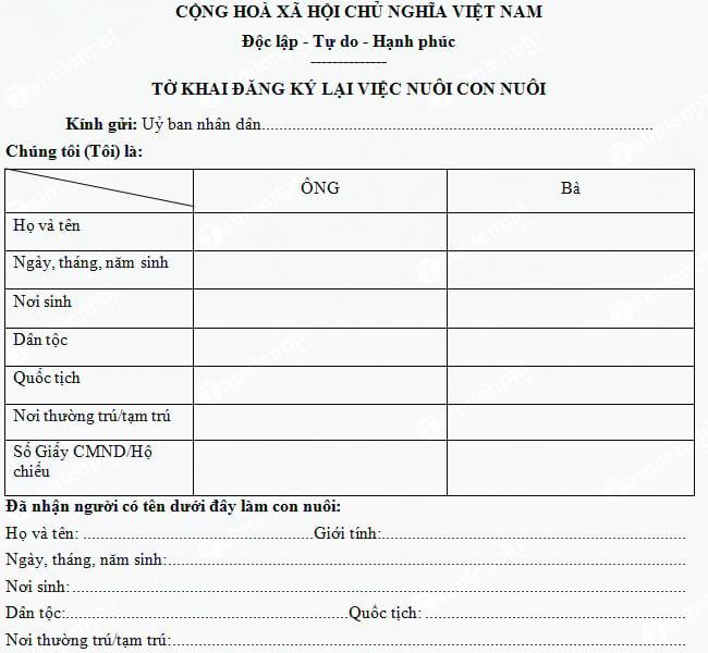 Tờ khai đăng ký lại việc nuôi con nuôi