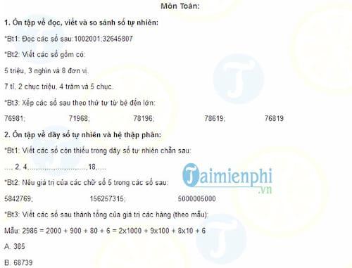 Ôn tập hè môn Toán và Tiếng Việt lớp 4 lên lớp 5