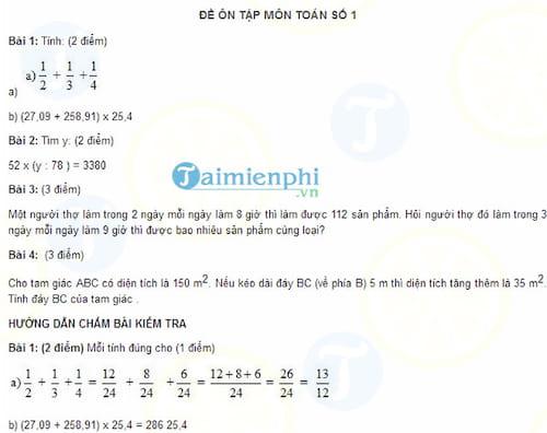 Bộ đề ôn tập môn Toán lớp 5 lên lớp 6 (Có đáp án)
