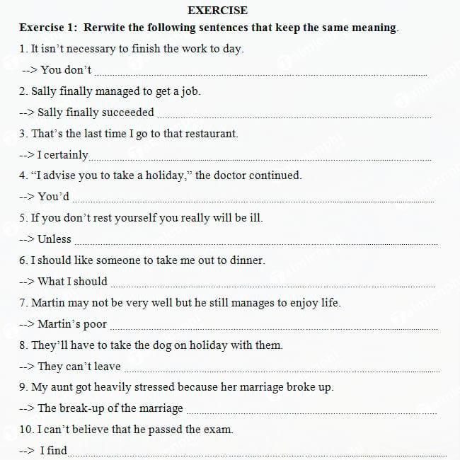 Bài tập viết lại câu Tiếng Anh lớp 9