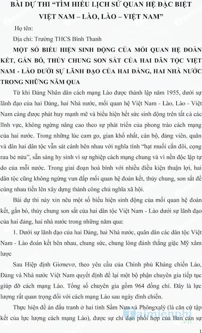 Bài dự thi tìm hiểu lịch sử quan hệ Việt Nam Lào