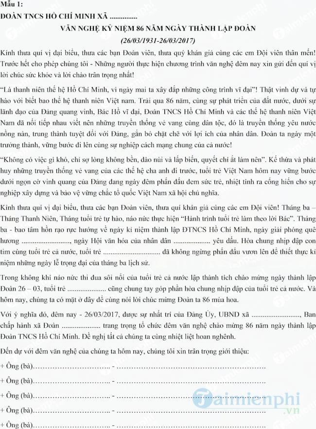 Lời dẫn chương trình văn nghệ 26-3 hay nhất