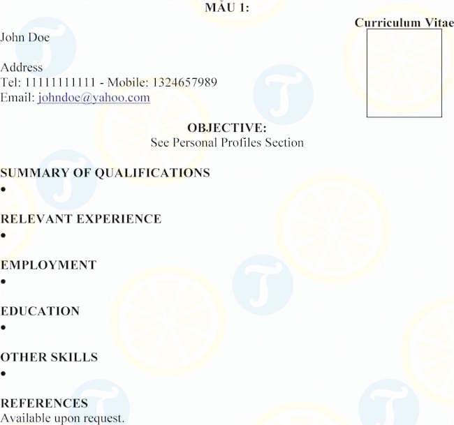 Mẫu CV làm giảng viên bằng tiếng Anh