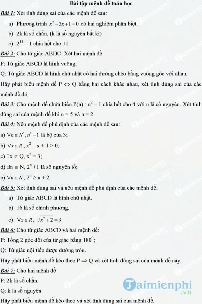 Bài tập mệnh đề toán lớp 10